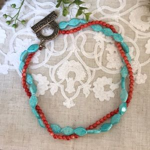 """Jewelry - Double strand necklace turquoise & coral color 18"""""""